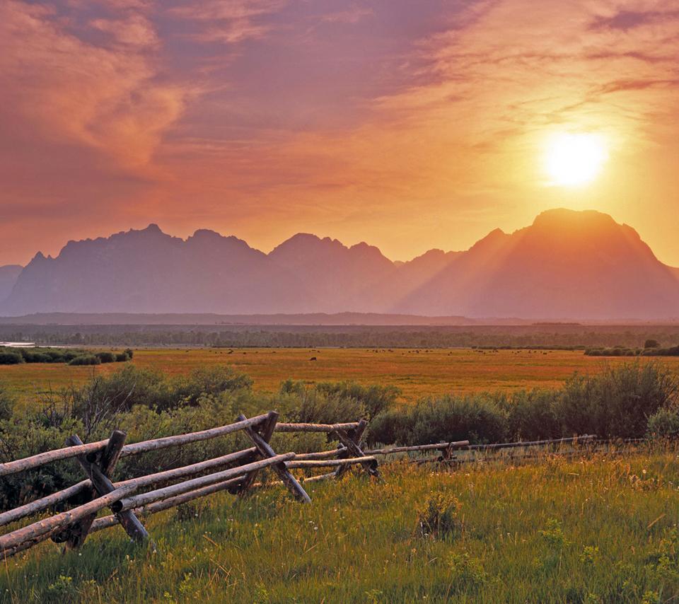 Sunset over the Grand Teton from the sagebrush flats; Grand Teton National Park, Wyoming, USA